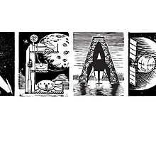 Read! Retro Science Fiction Rocket Alphabet Letter design by Monkeynaut