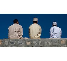 3men on a wall Photographic Print