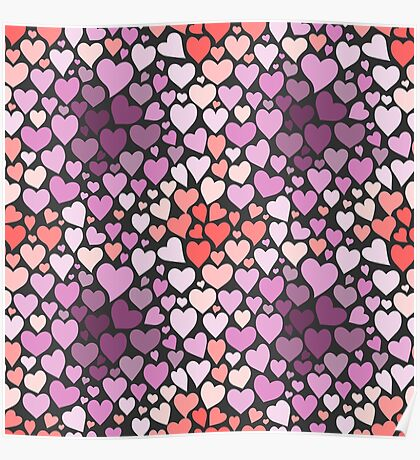 Abstract lilac hearts pattern Poster