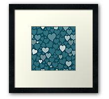 Blue hearts pattern Framed Print
