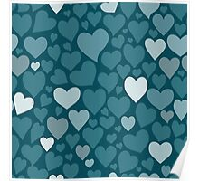 Blue hearts pattern Poster