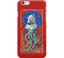 Susan - Alien Floating Brain Robot Holding Ray Gun from Hand-Colored Linocut Print Original iPhone Case/Skin