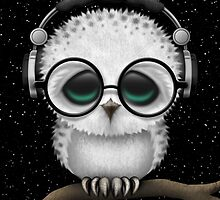 Baby Owl Dj with Headphones and Glasses by Jeff Bartels