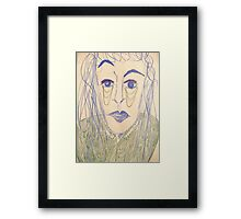 Androgynous person with raised eyebrow Framed Print