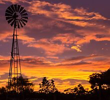 Windmill Sunset by Ric Raftis