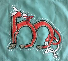 Celtic Fox Letter M Embroidery by Donna Huntriss