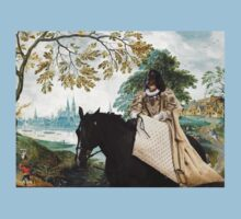 Dachshund Longhaired -  The Landscape with castle and noble lady T-Shirt