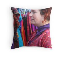 Colourfull Market Seller Throw Pillow