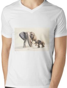 Mama and Baby Elephant Mens V-Neck T-Shirt