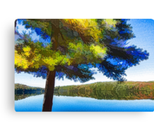 Sun and Shade Pine Tree On the Lake - Colorful Autumn Impressions Canvas Print