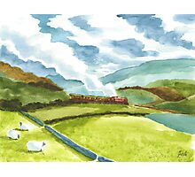 Watercolour Steam Train Photographic Print
