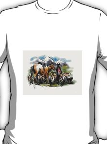 Hill country sheep muster. New Zealand T-Shirt