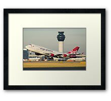 Virgin Atlantic 747-400 Departing Manchester Airport Framed Print