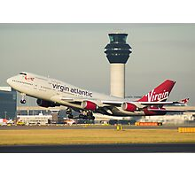 Virgin Atlantic 747-400 Departing Manchester Airport Photographic Print