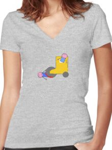 Don't play in front of steam rollers Women's Fitted V-Neck T-Shirt