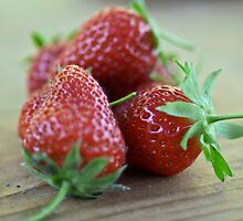 A close-up image  of strawberries by turpentine