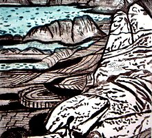 """The Lady is the Landscape - Drypoint Etching by Belinda """"BillyLee"""" NYE (Printmaker)"""