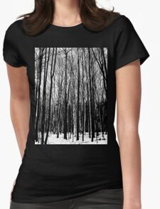 Black And White Forest Womens Fitted T-Shirt