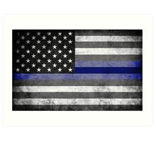 The Thin Blue Line - American Police Officer Art Print
