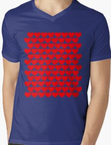 Red Hearts Repeating (Valentines) Mens V-Neck T-Shirt