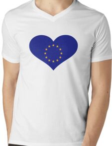 Europe EU flag heart Mens V-Neck T-Shirt