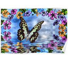 Butterfly and anemones Poster
