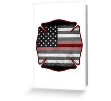 Thin Red Line - Fire Cross Greeting Card