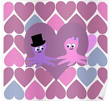 Octopus love with heart Background Poster