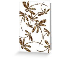 Golden Dragonfly Frenzy Greeting Card
