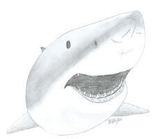 Great White Shark Face by AtlasArts