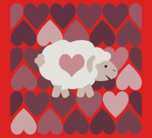 Cute Sheep and Pink Hearts One Piece - Short Sleeve