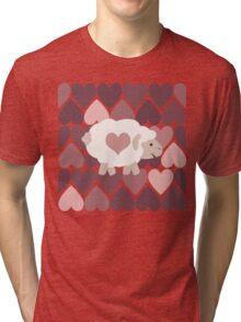 Cute Sheep and Pink Hearts Tri-blend T-Shirt