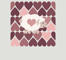 Cute Sheep and Pink Hearts Womens Fitted T-Shirt