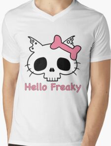 Hello Freaky Pink Mens V-Neck T-Shirt