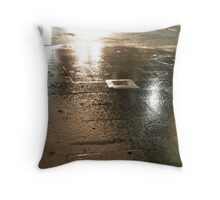 silver rain in the city Throw Pillow