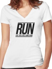 Run Like You Stole Something Women's Fitted V-Neck T-Shirt