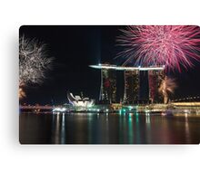 Fireworks at Marina Bay Singapore Canvas Print