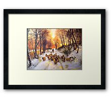 Sheperd dog herding the flock oil painting reproduction of 18th centuary artist Framed Print