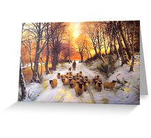 Sheperd dog herding the flock oil painting reproduction of 18th centuary artist Greeting Card