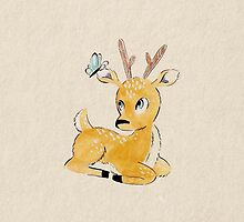Deer and Butterfly by mustashleigh