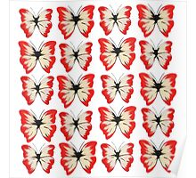 Red Butterflies Poster