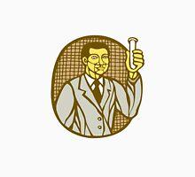 Asian Scientist Test Tube Woodcut Linocut Unisex T-Shirt