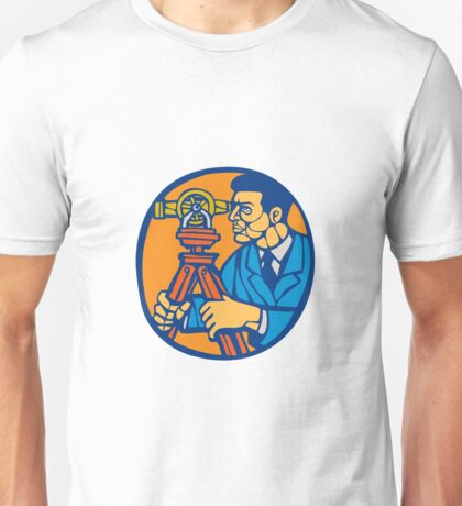 Surveyor Geodetic Theodolite Woodcut Linocut Unisex T-Shirt