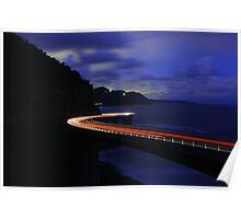 Light Trails on Sea Cliff Bridge Poster