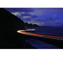 Light Trails on Sea Cliff Bridge Photographic Print