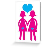 Lesbian girls love hearts together Greeting Card
