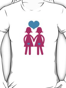 Lesbian girls love hearts together T-Shirt