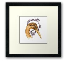 Airone - coffee and ink -  Framed Print