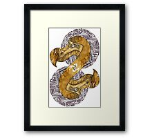 Double Dodo - coffee and ink - Framed Print