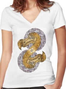 Double Dodo - coffee and ink - Women's Fitted V-Neck T-Shirt